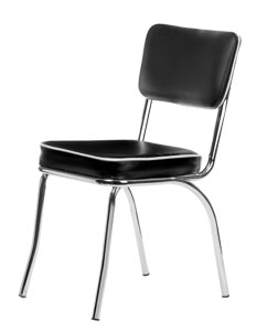 Chrome Retro Dining Chair with Black Vinyl Cushioned Seat and Back