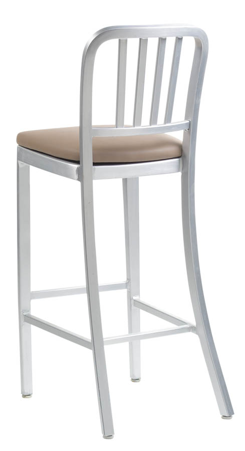 Aluminum Sandra Navy Style Counter Height Bar Stool With