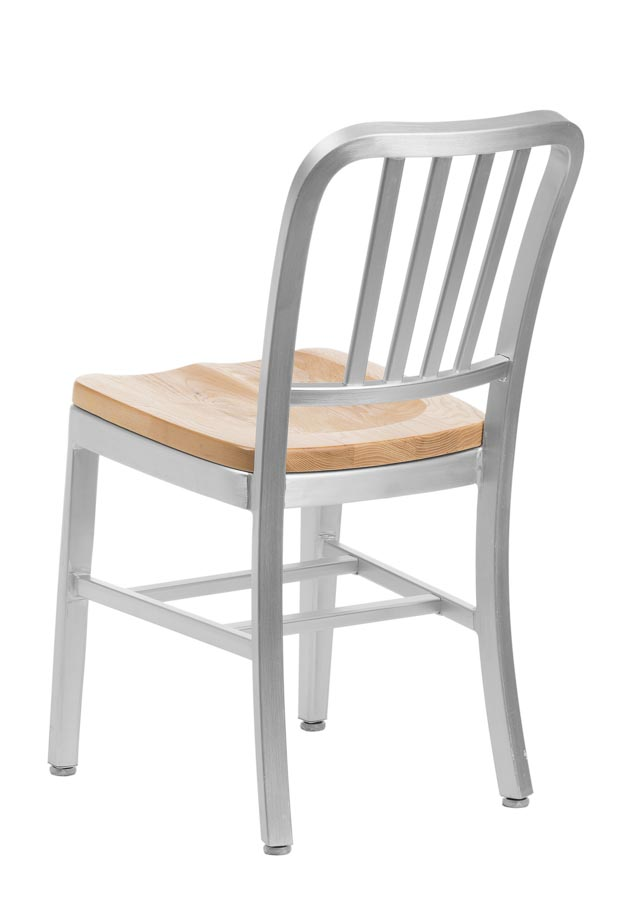 Aluminum Sandra Navy Style Restaurant Chair With Oak Seat, Aluminum Chairs  : Chairs Direct Seating