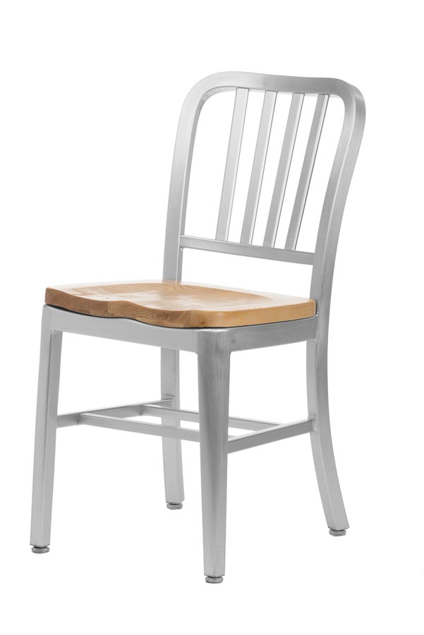 Aluminum Sandra Navy Style Restaurant Chair With Oak Seat. Zoom