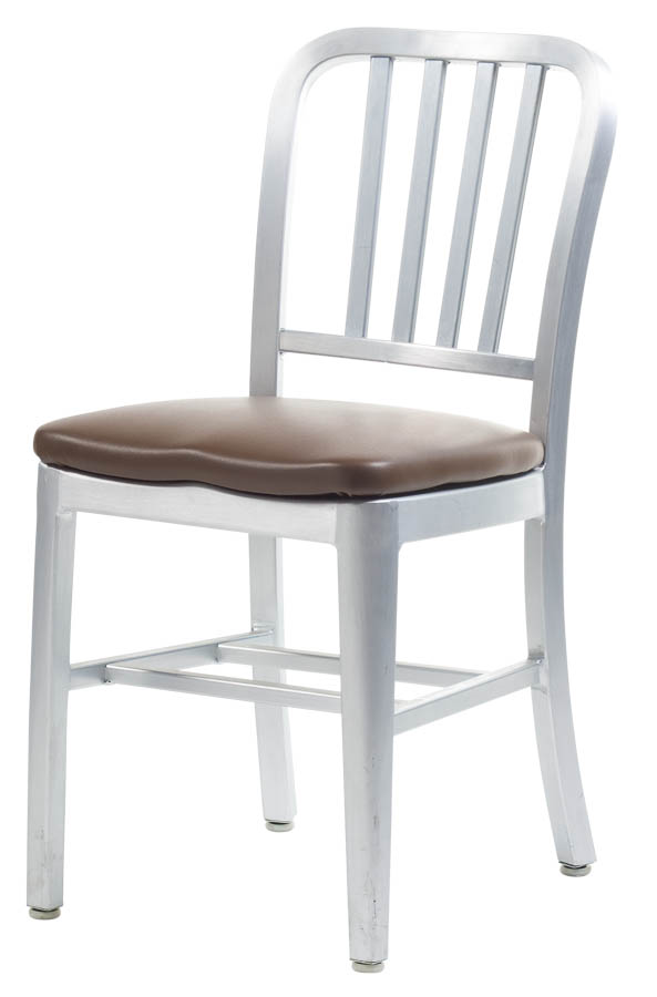 Aluminum Sandra Navy Style Restaurant Chair With Upholstered Seat