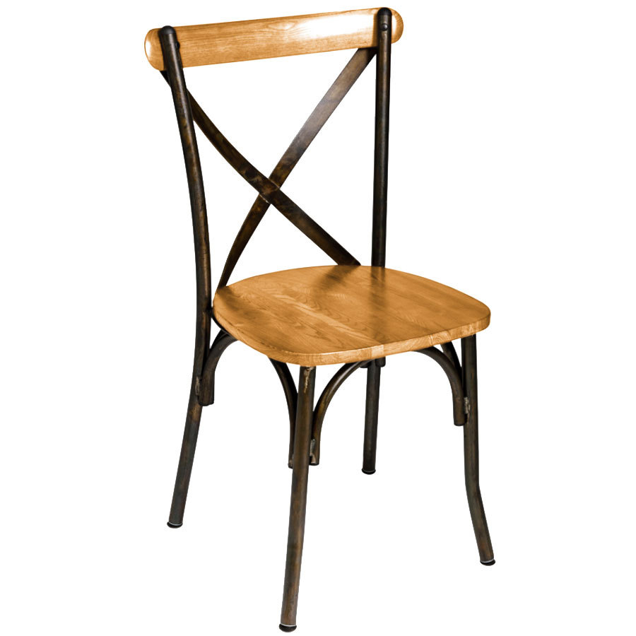 Henry Steel Crossback Chair With Natural Wood Seat Henry