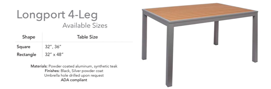 Rectangular Longport Aluminum and Synthetic Teak Table - 4 leg
