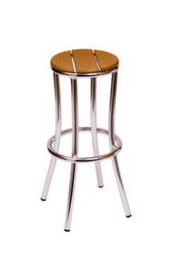 Norden Outdoor Aluminum Barstool with synthetic Teak Seat-Stackable