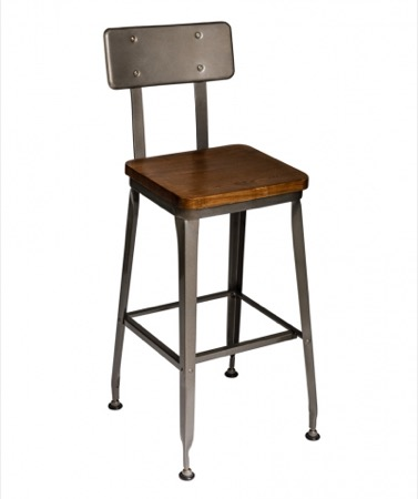 Lincoln Clear Coated Steel Barstool with Wood Seat