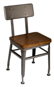 Lincoln Clear Coated Steel Side Chair with Wood Seat