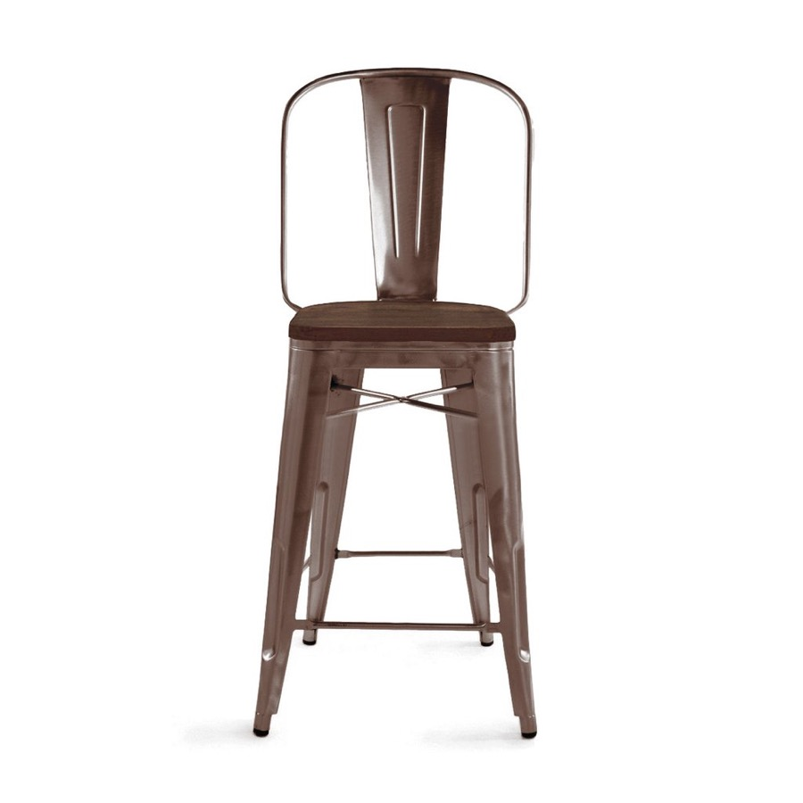 Dreux Rustic Matte Elm Wood Seat Steel Bar Stool With