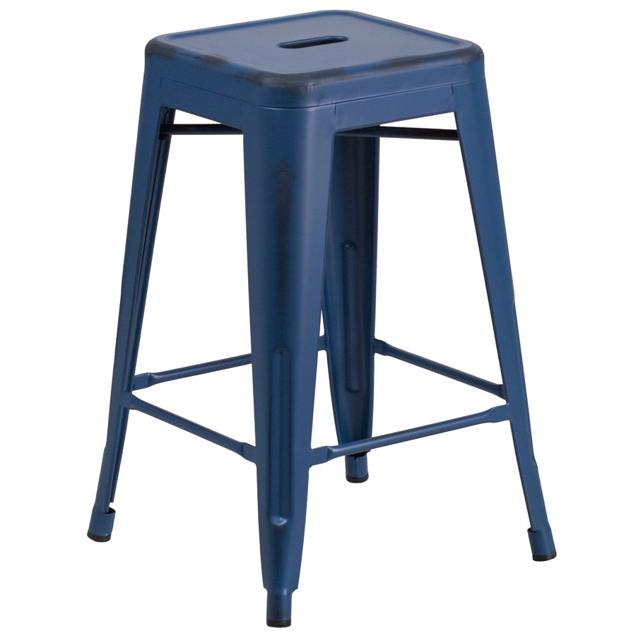Tolix Distressed Indoor Outdoor Backless Counter Stool