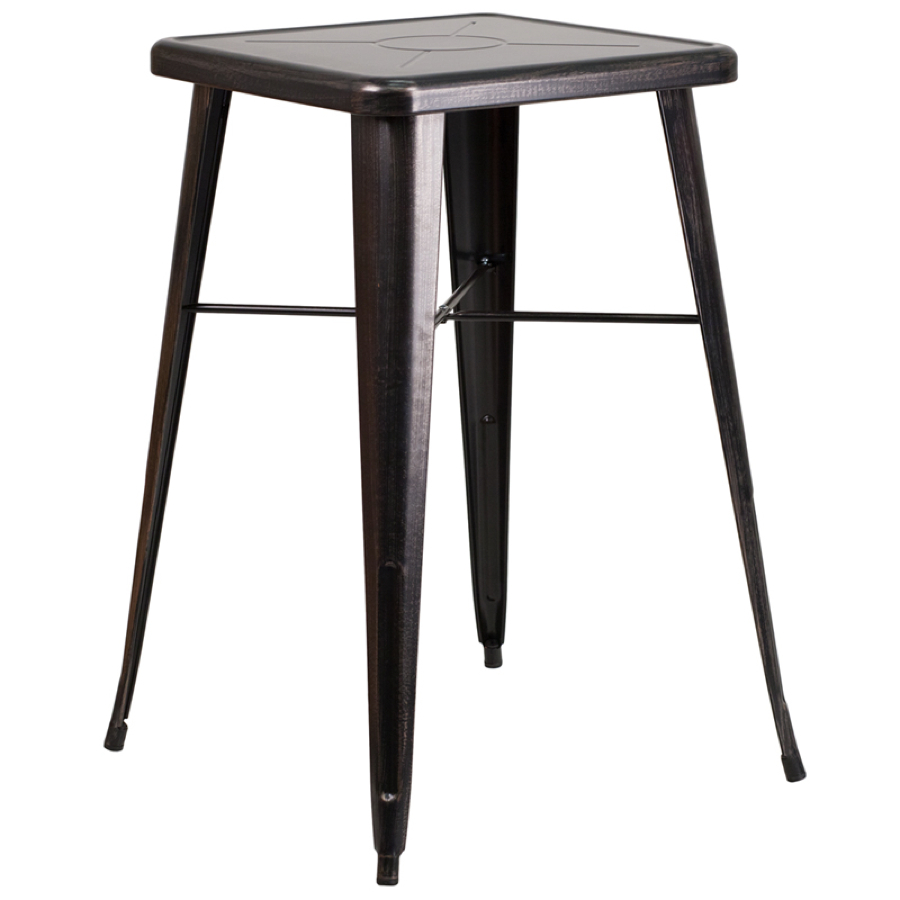 24 square top tolix cafe bar table cafe tables chairs direct seating. Black Bedroom Furniture Sets. Home Design Ideas