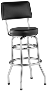 Retro Style Upholstered Cushioned Swivel Bar Stool