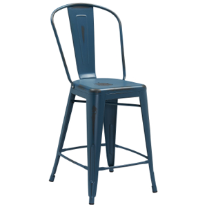 Tolix Distressed Indoor-Outdoor Counter Stool