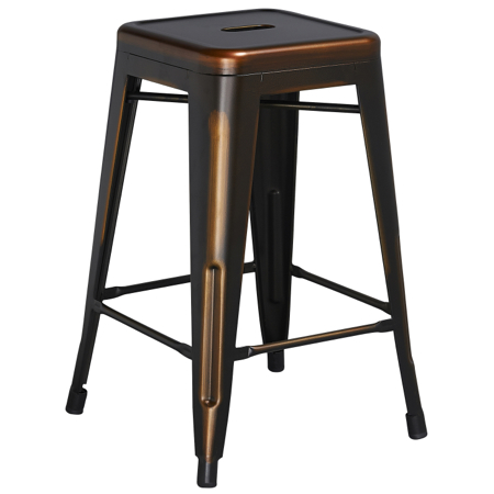 tolix style industrial distressed indoor outdoor counter stool backless 24 high tabouret. Black Bedroom Furniture Sets. Home Design Ideas