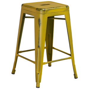 Tolix Distressed Indoor-Outdoor Backless Counter Stool