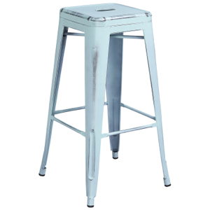 Tolix Distressed Indoor-Outdoor Backless Barstool
