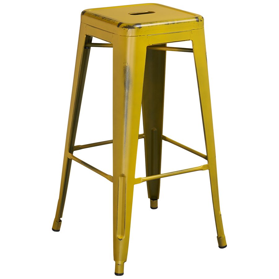 Tolix Distressed Indoor Outdoor Backless Barstool Colored