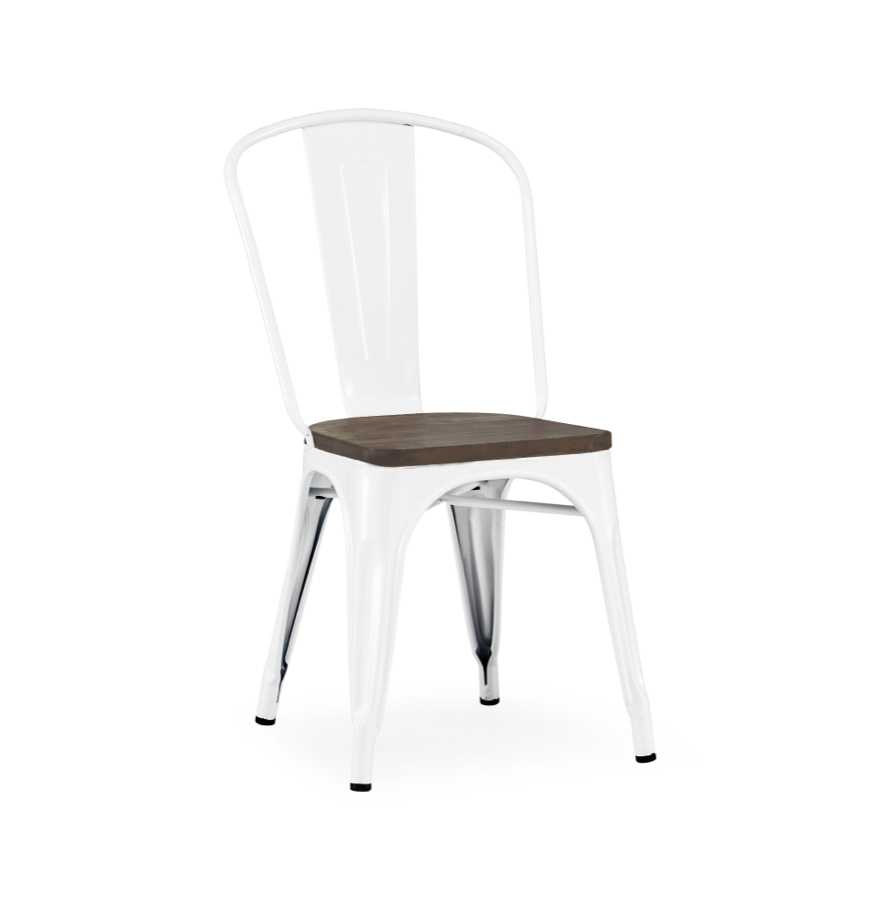 dreux stackable glossy white elm wood seat steel side chair tabouret tolix style chairs. Black Bedroom Furniture Sets. Home Design Ideas