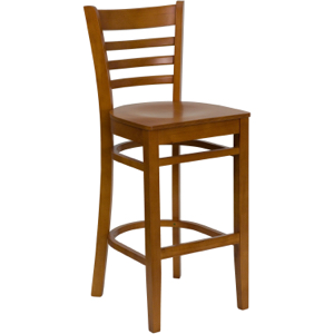 Diana Ladder Back Wood Barstool with Wood Seat