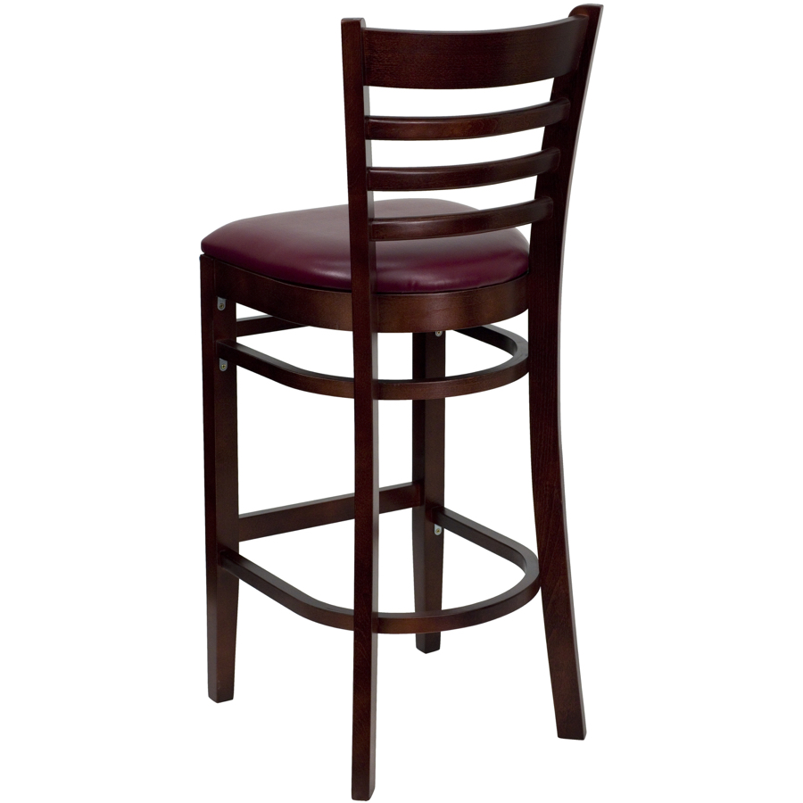 Diana Ladder Back Wood Barstool With Upholstered Seat