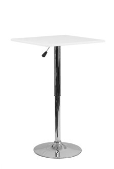 Square White Wood Cafe Pub Table with Adjustable Height