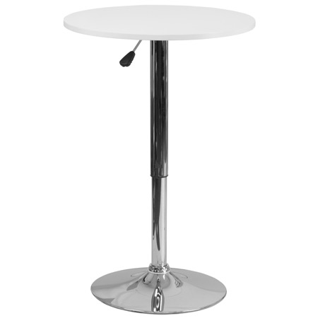 Round White Wood Cafe Pub Table with Adjustable Height