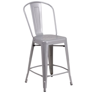 Tolix  Matte Silver Counter Stool