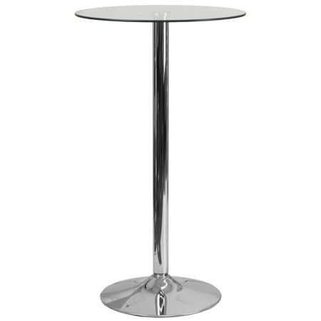 Round Glass Cafe Bar Height Pub Table with Chrome Base