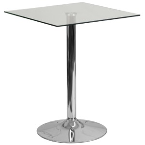 Square Glass Cafe Pub Table with Chrome Base