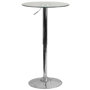 Round Glass Cafe Pub Table with Adjustable Height