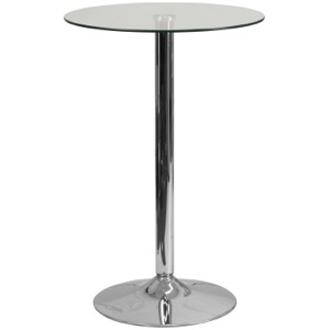 23.5'' Round Glass Cafe Pub Table with 35.5''H Chrome Base