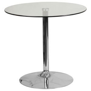 "31.5'' Round Glass Cafe Pub Table with 29""H Chrome Base"