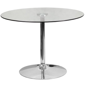"39.25"" Round Glass Cafe Pub Table with 29""H Chrome Base"