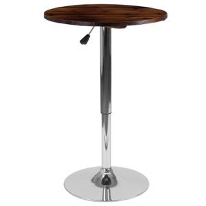Round Rustic Wood Table with Adjustable Height