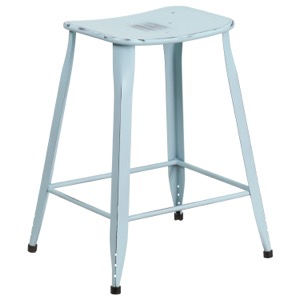 Tolix Square Distressed Indoor-Outdoor Backless Counter Stool