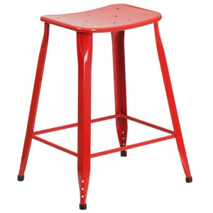 Tolix Square  Indoor-Outdoor Backless Counter Stool