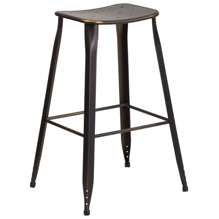 Tolix Square Distressed  Indoor-Outdoor Backless Barstool