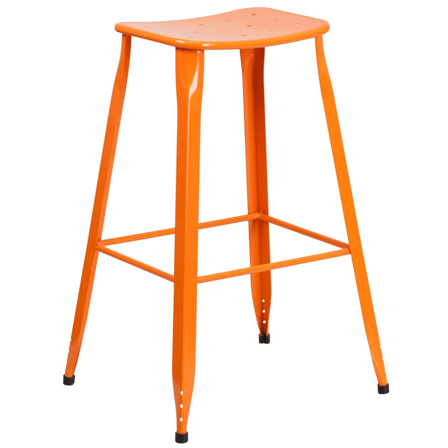 Tolix Square Indoor Outdoor Backless Bar Stool Colored