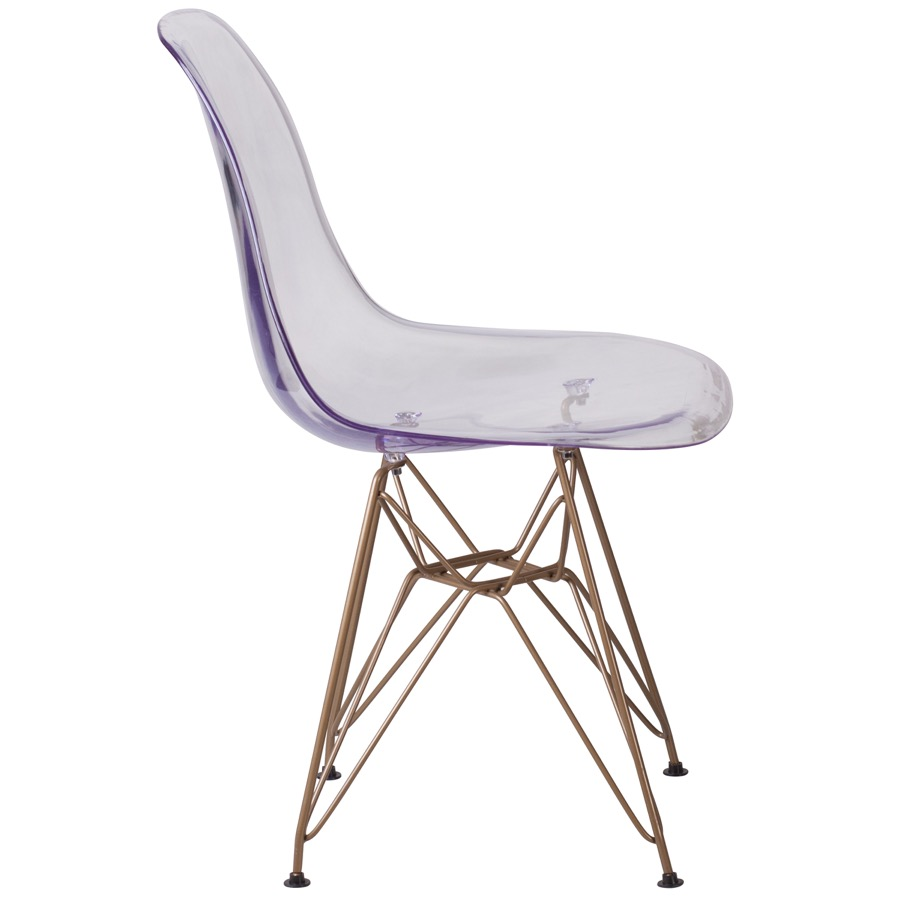Bailey Ghost Side Chair With Gold Metal Base Bailey
