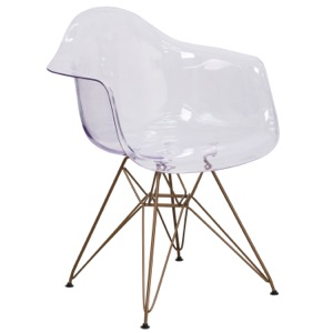 Aria Transparent Side Chair with Gold Frame