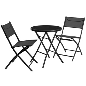 Metal Bistro Set with Round Glass Table
