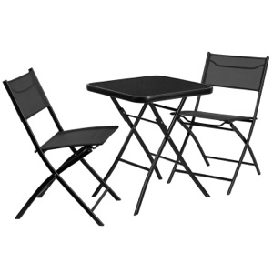 Metal Bistro Set with Square Glass Table