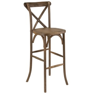 Bistro Style Wood Cross Back Barstool