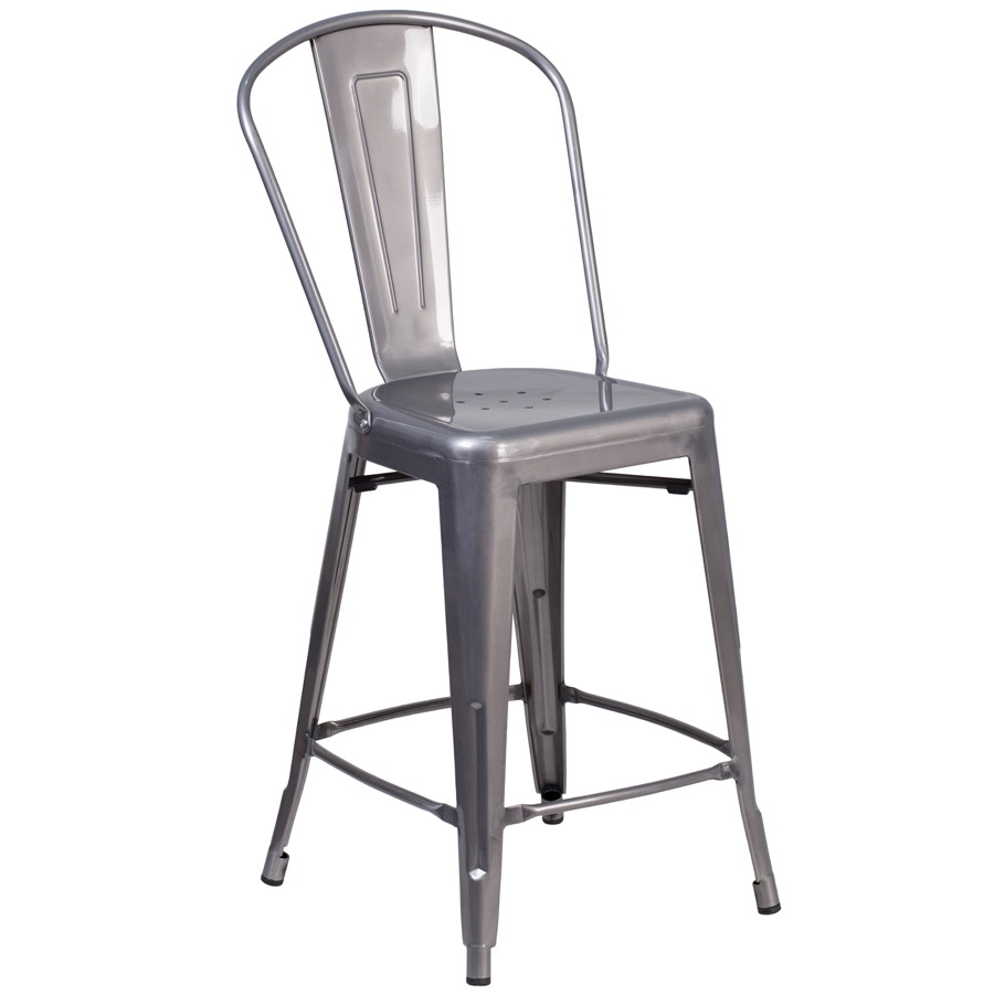 Tolix replica clear coated metal counter height indoor stool barstools chairs direct seating - Aluminum counter height stools ...