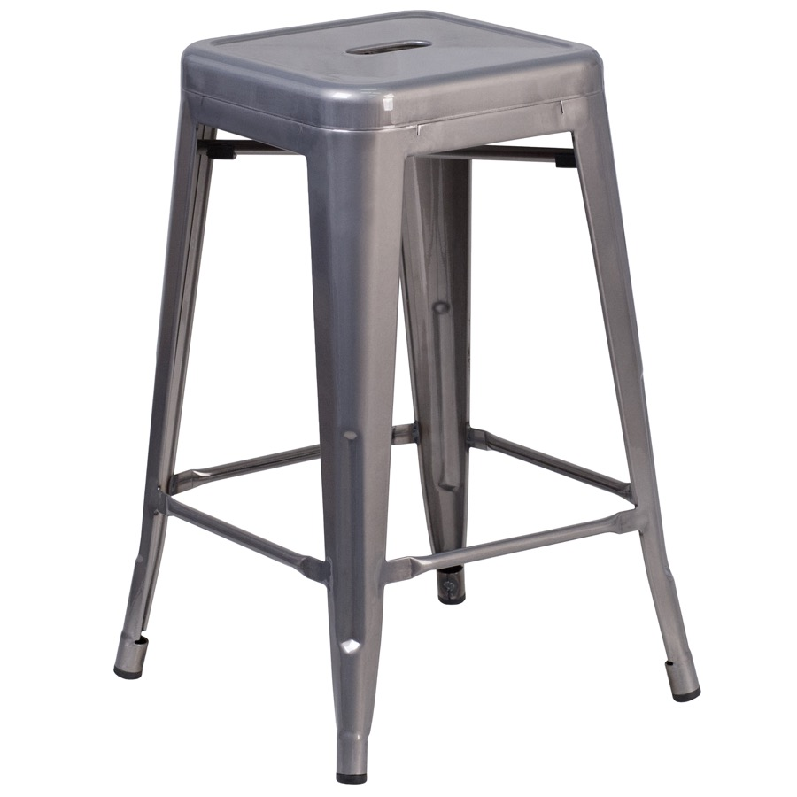 Grayson 24 Clear Coated Metal Backless Barstool Tabouret Tolix