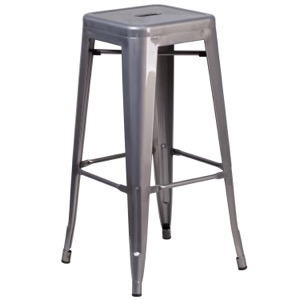 "Grayson 30"" Clear Coated Metal Backless Barstool"