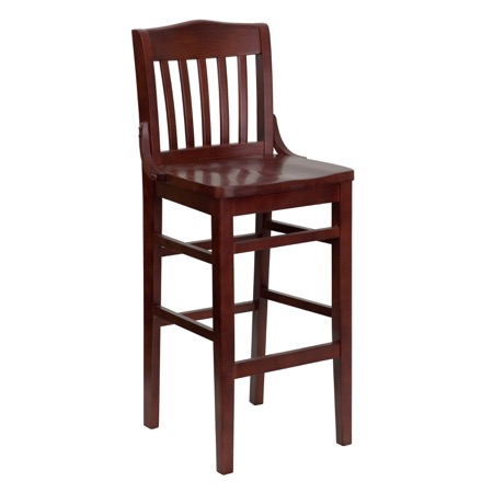 Schoolhouse Back Wooden Barstool