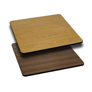 Square Restaurant Table With Natural or Walnut Reversible Laminate Top