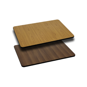 Rectangular Restaurant Table With Natural or Walnut Reversible Laminate Top