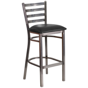 Clear Coated Ladder Back Metal Barstool