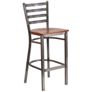 Clear Coated Ladder Back Metal Barstool with Wood Seat
