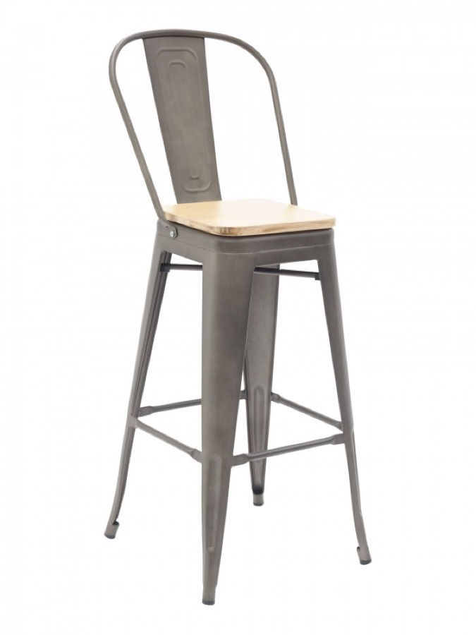 tabouret tolix industrial steel bar stool with high back. Black Bedroom Furniture Sets. Home Design Ideas